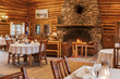 All meals are included for overnight guests at Brooks Lake Lodge, served in the grand hall complete with a great stone fireplace and a gallery of Western paintings and sculptures.