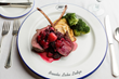 A variety of gourmet meals such as this Roasted Elk Tenderloin with Huckleberry Sauce dinner entrée are included with all overnight stays.