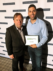 Deco Lighting's Director of Engineering, Michael Bailey (left), and President, Ben Pouladian (right), attend the Los Angeles Business Journal's annual Fastest Growing Private Company Awards