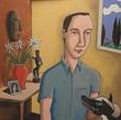 "Kelly Detweiler ""Interior with Dog"" Acrylic on canvas 40"" x 40"" 2013"