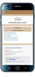 Job Alerts App for the Leopard Job Search Legal Recruiting Platform from Leopard Solutions - www.leopardsolutions.com/job-app