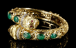 18K gold Ladies' Etruscan-style bracelet with diamonds and jade