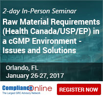 Raw Material Requirements (Health Canada/USP/EP) in a cGMP Environment