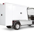 The L-shaped van box on the Carryall 700 Housekeeping Vehicle can be securely locked to protect your equipment.
