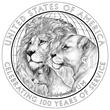 Lions Clubs International Centennial Silver Dollar Reverse