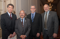 Swords to Plowshares Executive Director Michael Blecker (far left), COO Leon Winston (far right), San Francisco Mayor Ed Lee (left) and Dept of Homelessness & Supportive Housing Jeff Kositsky (right)