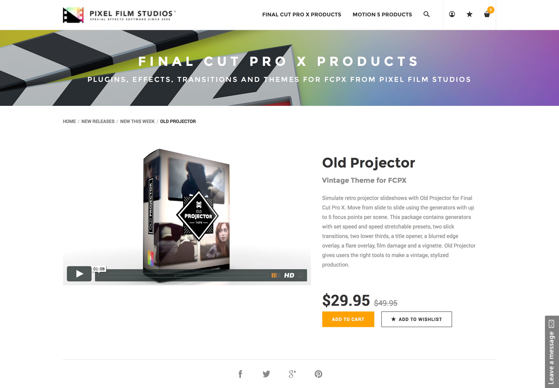 Pixel Film Studios Released Old Projector for Final Cut Pro X