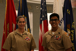 Young Marines SSgt Cassandra Roaché and Young Marines MSgt Dev R. Patel won the Jimmie Trimble Scholarship