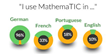 MathemaTIC offers students the ability to dynamically switch between four different languages.