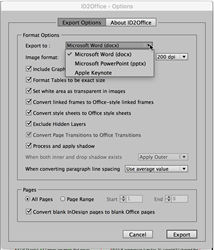 Export InDesign to Word, Export InDesign to PowerPoint, Export InDesign to Keynote