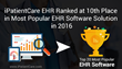 iPatientCare Ranked One of the Most Popular EHR in Capterra-2016