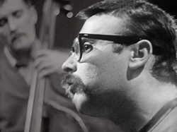 "Vince Guaraldi, the man who composed ""Cast Your Fate To The Wind"" and ""A Charlie Brown Christmas"", in the recording studio in 1962."
