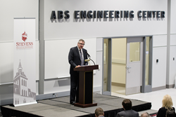 Christopher J. Wiernicki, ABS Chairman, President and CEO, addresses the audience at the ABS Engineering Center Dedication at Stevens Institute of Technology