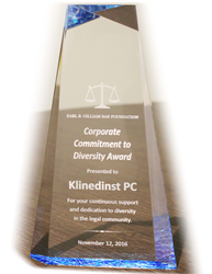 Earl B Gilliam Awards Klinedinst PC with 2016 Corporate Commitment to Diversity Award