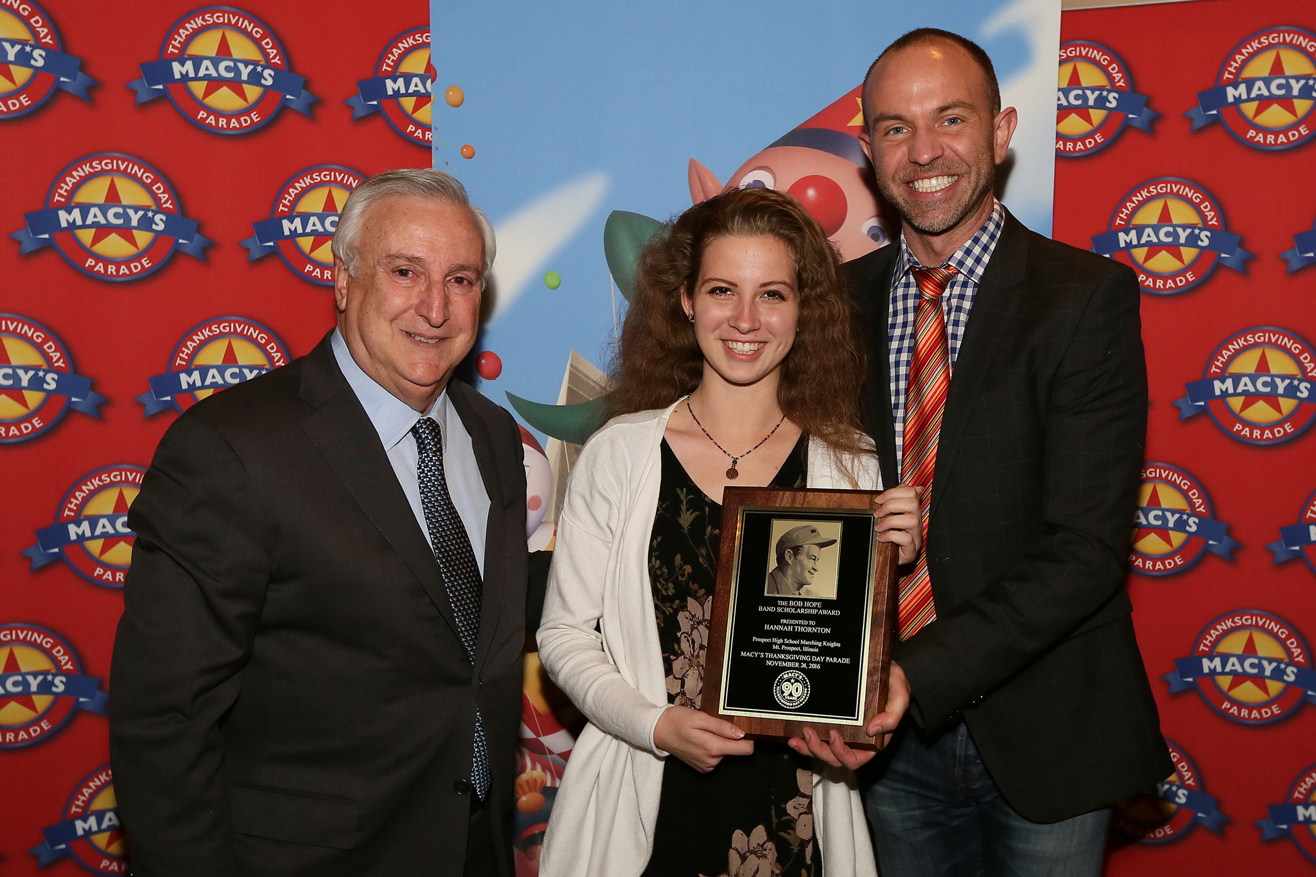 bob hope band scholarship awarded to prospect high school ing tony montalto exec director bob dolores hope foundation hannah thornton wesley whatley creative director macy s parade