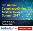 ComplianceOnline to Host 3rd Annual Medical Device Summit 2017 on June 8-9, 2017 in Boston, MA
