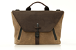 Staad Attaché —tan waxed canvas and chocolate leather flap