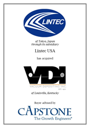 Capstone Strategic guides acquisition of VDI by Japan's Lintec USA.