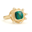 Petals by Audrius Krulis. 18 Yellow Gold, Green Tourmaline, and White Diamond