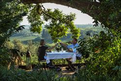 Dinner alfresco at Gibb's Farm in Tanzania.