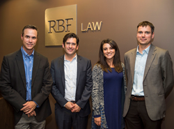Partners of RBF Law. Left to Right: Eric Fisher, Michael A. Rollin, Maritza Dominguez Braswell and Caleb Durling