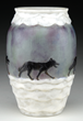 Lot #1102, a G. Argy Rousseau Wolves in the Snow vase, realized $34,958.