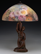 Lot #1363, a Handel Chrysanthemum table lamp, realized $10,665.