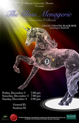 """Poster for Tennessee Williams' classic play """"The Glass Menagerie"""" at the Gracie Theatre in Bangor, Maine."""