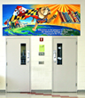 The Meade Middle School cafeteria entrance is now adorned with a colorful mural featuring the school district's bulldog mascot.
