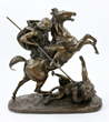 Bronze Bedouin Hunting a Lion