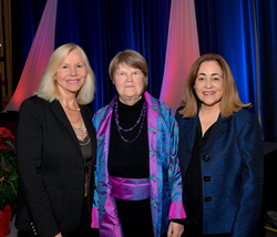 The inductees to the Women's Business Hall of Fame, Carmen Castillo, Virginia Littlejohn, and Joan Kerr, on behalf of Pacific Gas & Electric