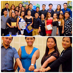 TOP – Qualfon Cebu Operations Supervisors celebrate graduation. BOTTOM – Leo Corsiga, Cherry Mae Nuñez, Angelita Mia Famadico, and Lyna Tagalog show off their graduation rings