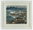 Chinese Modern Painting of boat by the coast, circa 1950s, signed lower right