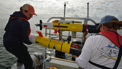 Researchers launch an underwater robotic vehicle