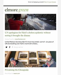 Elmore Green newsletter for user who identified as solidly liberal