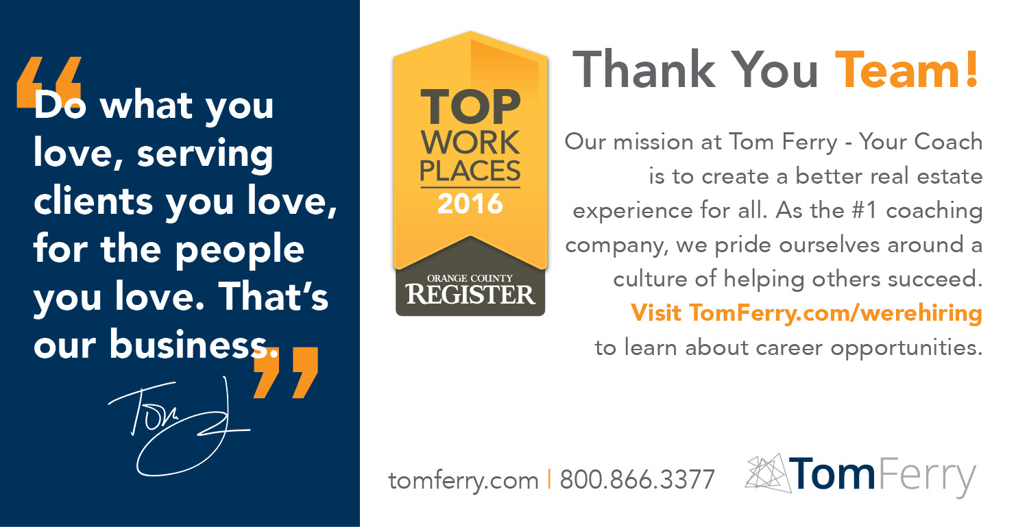 A Corporate Culture Of Personal Development And Growth Has Made Tom Ferry One The Top Places To Work In Orange County