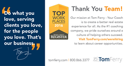Tom Ferry Voted One of the top Workplaces in Orange County.