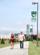 Husson University students on campus.