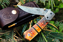 Damascus Steel Pocket Folding Knife DKC Knvies