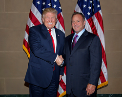 President Donald Trump and Lloyd Claycomb at a 2016 fundraiser