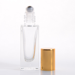 5ml (1/6 oz) Clear Glass Deluxe Square Bottle with Stainless Steel Roller and Gold or Silver Cap (360 complete pieces in a case)