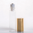 10ml (1/3 oz) Clear Glass Tube Roll-on Bottle with Stainless Roller and Gold or Silver Cap (1670 complete pieces in a case)