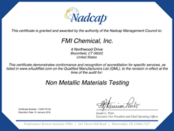 FMi Chemical Nadcap Addreditation for nonmetallic materials testing