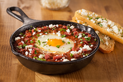 Crossed Cuisines Shakshuka with Duck Sausage and Duck Fat Toast