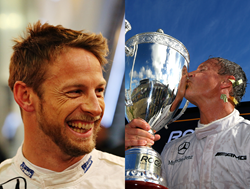 Pictured (Left to Right): Formula 1 Drivers Jenson Button and David Coulthard