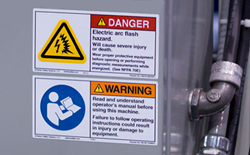 Arc flash safety label from Clarion Safety Systems