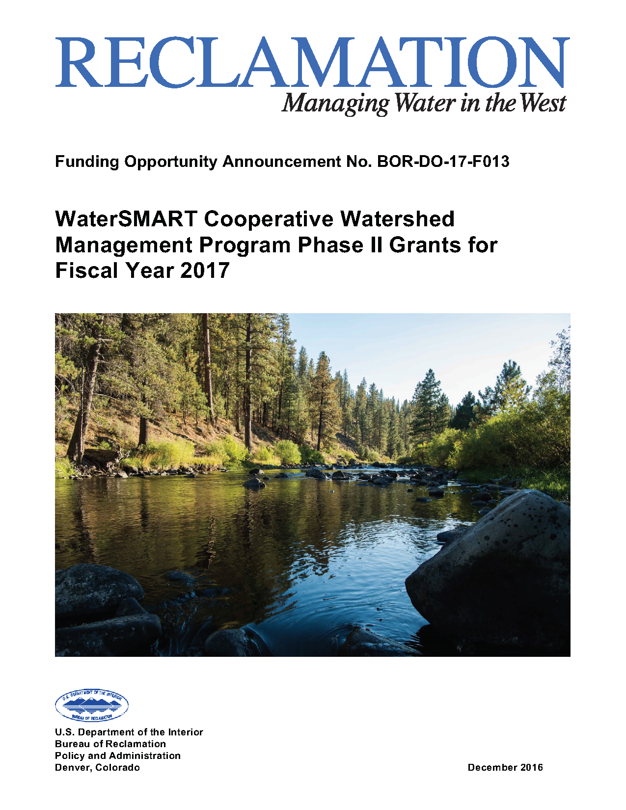 WaterSMART Funding Opportunity Available from Bureau of