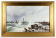 Theodora Weber (American, 1838-1907), hurricane at harbor entrance, oil on canvas