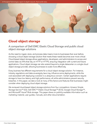 This research report compares cloud object storage offerings from Dell EMC, Amazon, Google, and Microsoft