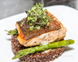 Grilled Atlantic Salmon on Red Quinoa